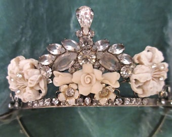 Vintage Rhinestone Tiara Embellished with Vintage Jewelry, Wedding, Bridal, Ivory Flowers