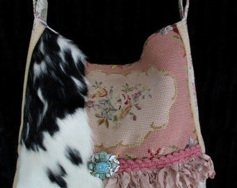 Vintage Needlepoint Roses, Velvet Chenille and Cowhide Handbag