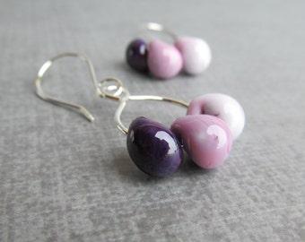 Purple Ombre Earrings, Purple Lampwork Earrings, Purple Lavender Dangle Earrings, Glass Drop Earrings, Sterling Silver Wire Earrings