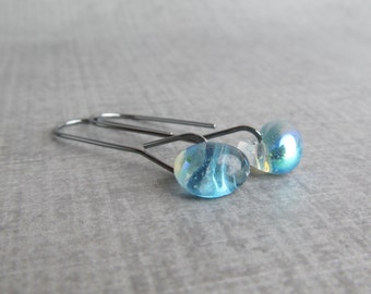 Dichroic Denim Blue Earrings, Long Minimalist Dangles, Blue Minimalist Earrings, Modern Earrings Blue, Oxidized Sterling Silver Earrings