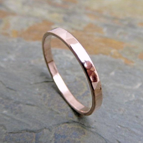 14k Yellow Gold High Polished 2mm Traditional Milgrain: 2mm Hammered Gold Wedding Band