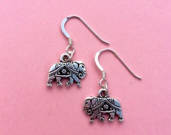 Silver elephant earrings, elephant jewellery, Indian Asian inspired earrings, holiday adventure gift, animal jewellery, Bohemian jewelry UK