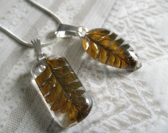 Feather Ferns Beneath Glass-Rustic,Earthy, Woodsy-Your Choice-Teardrop or Rectangle Pendant-Symbol Perseverance-Nature's  Art-Gifts Under 25