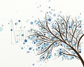 Blue Wall Decor, Circle Tree Wall Art, 8 x 10 Print, Modern Home Decor, Winter Tree, Polka Dots (91)