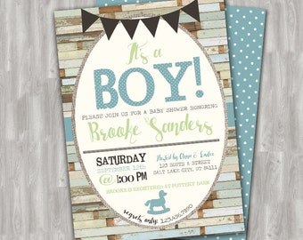 Rustic Barnwood Baby Boy Shower Invitation Printable - Custom Digital File Download