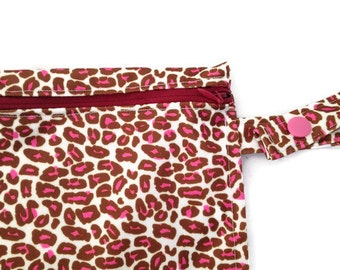 Washable Reusable Snack or Sandwich Bag Pink Cheetah