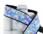 White Daisy dSLR Camera Strap, Camera Neck Strap, Replaces Canon Nikon strap, Blue, Aqua, Daisy, Floral, 78 w