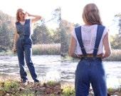 Vintage 80s Overalls Jumpsuit Blue Denim Jean by Blaze Onesie Romper Womens XS - S Small Cotton Unique