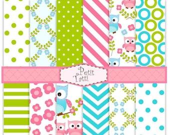 ON SALE Digital paper pack, digital backgrounds-cute Owl digital paper-03, blue,pink, green,chevron, stripe, polkadots