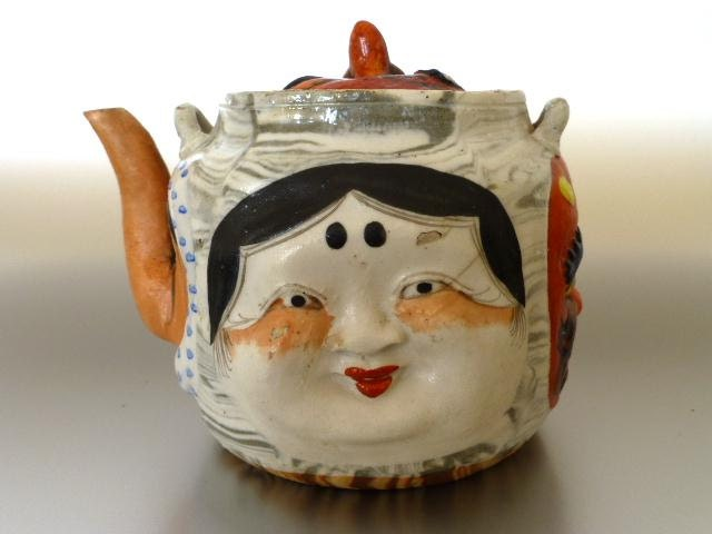 Japanese Banko Marbled Pottery Many Faces Teapot