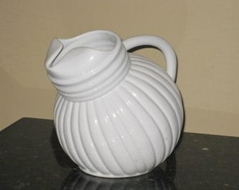 Vintage Betty Crocker Pitcher, White Ribbed Water Pitcher