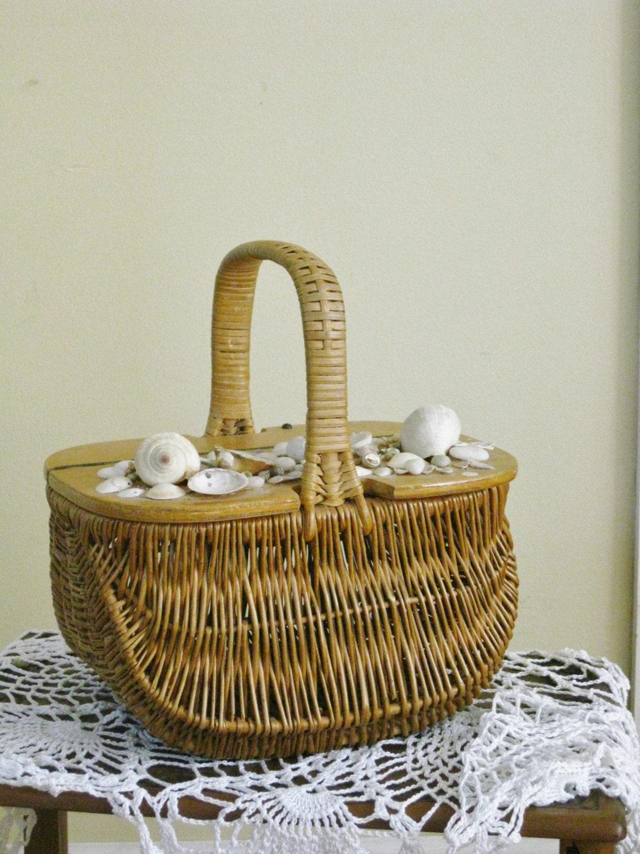 Woven Basket With Hinged Lid : Vintage woven wicker basket hinged wooden lid seashells