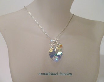 Crystal Heart necklace Cluster Crystal Necklace crystal necklace heart jewelry valentines day jewelry casual jewelry