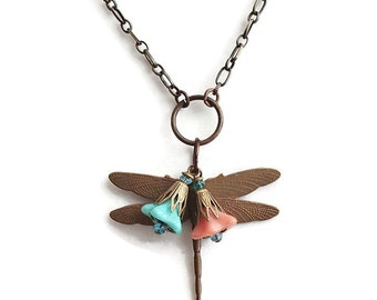 Dragonfly Pendant. Dragonfly Necklace. Dragonfly Flower Chain Necklace