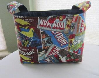 Fabric Organizer Basket Storage Bin Container - Marvel Comic Hulk Spiderrman Wolverine Ironman