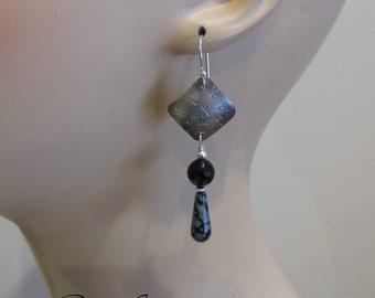 Snowflake Obsidian, Black Onyx Earrings, Hugs and Kisses, Sterling Silver Stamped, Handmade by RiverGum Jewellery