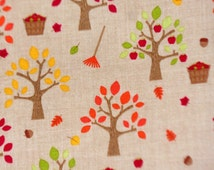 """Riley Blake """"Happy Harvest"""" by Doodlebug C4031 Brown Orchard Trees Branches Leaves Fall Cotton Woven Quilters Fabric, price per yard."""