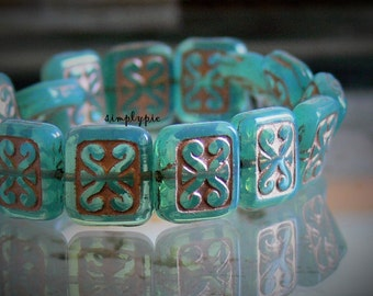 Copper Aqua Mural Verdigris Czech Glass Beads 10 Rectangle 12x11mm