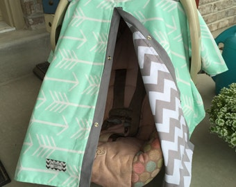 CAR SEAT COVER / carseat canopy / nursing cover / unisex / boy / girl / arrow / mint / gray