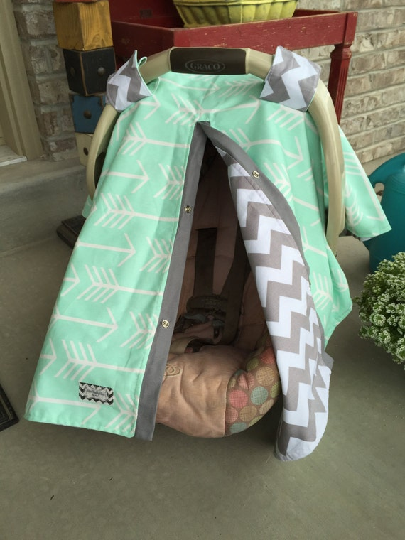 CAR SEAT COVER , carseat canopy , nursing cover , unisex , boy , girl , arrow , mint , gray