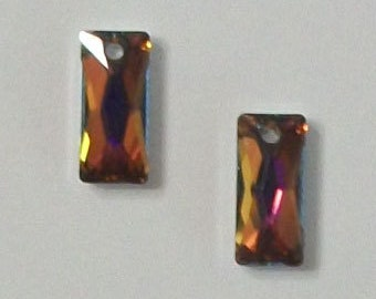 Swarovski Crystal Pendants 13.5x6mm Baguette Style 6465 Crystal Pendant Beads VOLCANO -- 2 pieces per lot