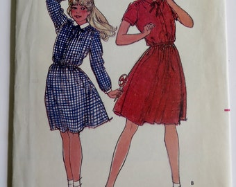 Sewing Pattern Girls Girl Dress Vintage Fitted Dress Butterick 3581 Uncut Size 12