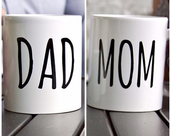 Dad Mom Baby Mug Set of 2 | Coffee | Tea | Handmade | Gift | Pregnancy announcement | Baby | Expecting | Family | Reveal | Baby Shower