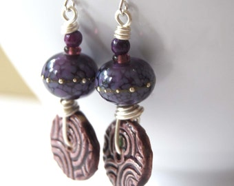 Purple Earrings, Ceramic Earrings, Silver Droplets, Lampwork Glass Earrings, Beaded Earrings, Spiral Pattern Earrings