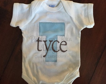 Customizable Initial and Name Embroidered Shirt Bodysuit or Layette Gown