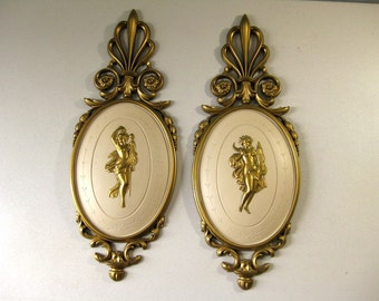 Vintage Dart Goddess wall plaques Hollywood Regency style wall decor