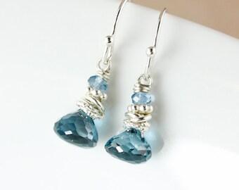 London Blue Topaz and Blue Quartz Earrings – 925 Sterling Silver