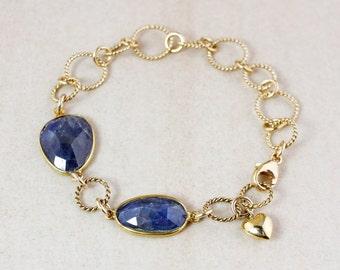 Gold Blue Sapphire Charm Bracelet – 14K Gold Fill - September Birthstone