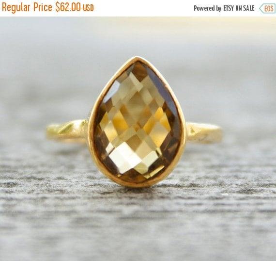 LABOR DAY SALE Gold Citrine Ring - Gemstone Ring - Stacking Ring, November Birthstone Ring, Teardrop