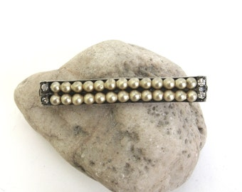 vintage sterling silver bar pin  ...  silver and pearl stick pin  ...  petite art deco pin