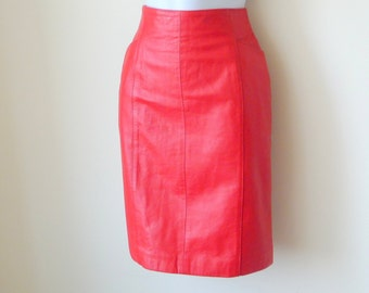 Red Leather Skirt - Short - Retro - Wilson - CHERRY LIPSTICK RED - Front Pockets - Fitted - Voluptuous - Rocker - Size 6 - Performer