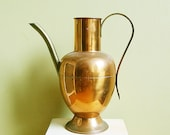 Vintage Copper and Brass Boho Pitcher Or Classical Vase Elegant and Curved.