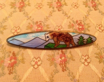 Exceptional Vintage Guilloche Enamel Bear+Mountains+Trees Brooch