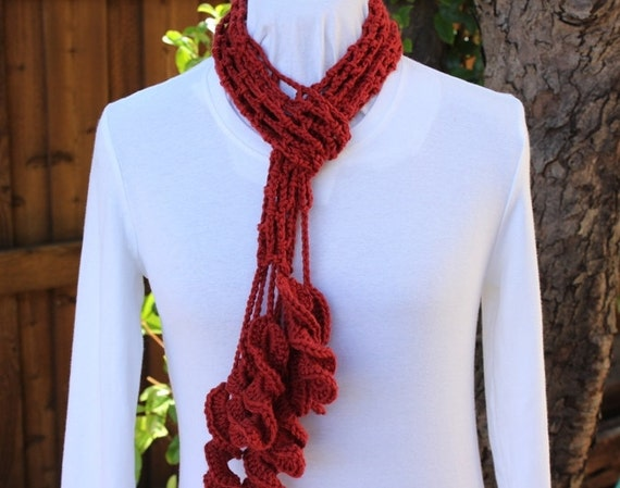 Crochet Pattern, Trellis Crochet Scarf Tutorial with Twisting Leaf Fringe, Easy to Follow Instructions, DIY Fashion Accessory to Crochet
