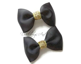 Black and Gold Tuxedo Hair Bows, Gold and Black Tuxedo Bows, Girls Black Hair Bow, Baby Hair Bows, Piggy Tail Bows, Girls Hair Accessories