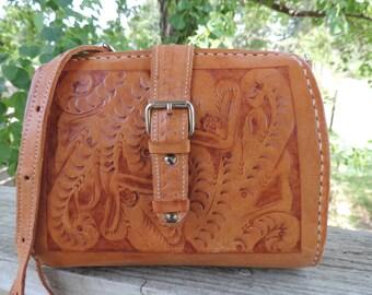 70s tooled leather purse boho chic handbag festival leather bag floral leather satchel