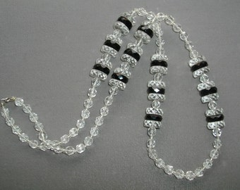 Art Deco Faceted Glass Beads Necklace Opera Lenght Free Shipping To The Usa And Canada