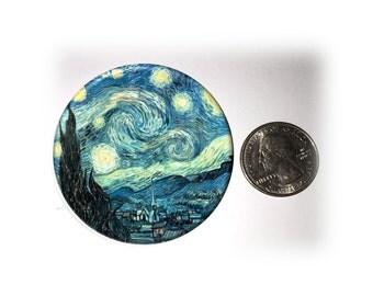 Starry Night Van Gogh Fridge Magnet Locker Magnet  2 1/4 inches in Diameter (92)