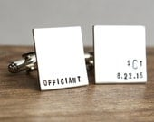 Officiant Cufflinks, Pastor Cuff Links, Hand Stamped Cufflinks, Stainless Steel, Men's Gift, Officiant Gift, For Him