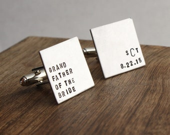 Grandfather of the Bride Cufflinks Grandfather of the Bride Cuff Links Stainless Steel Men's Gift Grandfather Gift For Him