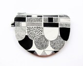 Teacup Zipper Pouch / Half Moon Zipper Pouch - Dots and Lines in Black and White