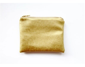 SPECIAL EDITION Faux Leather Zipper Coin Purse in GOLD - Small - Simple and Classic Zipper Pouch in Faux Sheepskin