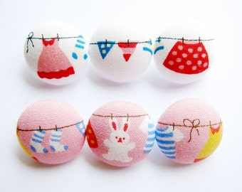 6 Small Fabric Buttons Set - Sweet Laundry on White and Pink - Fabric Covered Buttons