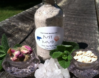 Minty Hibiscus Rose and Oats Clay Face Scrub and Mask 4oz glass bottle