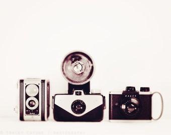 Vintage Camera, Wall Art Print, Monochrome, Minimalist Home Decor - black and white, retro inspired art, shutterbug, for the photographer