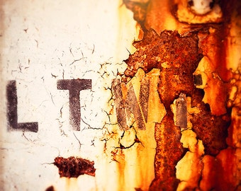 Street Photography | Abstract Art Prints | urban art home decor  | orange, brown, yellow | chicago photograph | letter B | texture | gritty